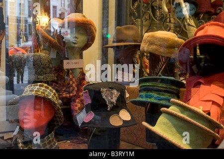 Shop selling traditional mens leather gloves, hats and fashion accessories on the Galeries Royales St Hubert in Brussels Belgium
