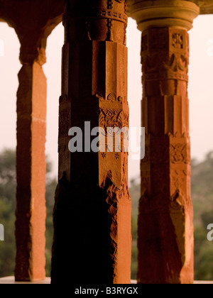 Pillars on an building in India - Stock Photo