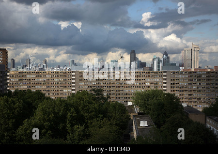City of London skyline as seen from the Heygate Estate, Elephant & Castle, London. - Stock Photo