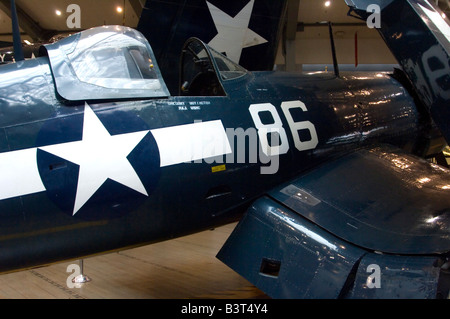 A Goodyear FG-1 Corsair on static display at the Naval Air Museum, NAS Pensacola - Stock Photo