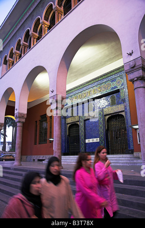Morocco, Maghreb, Casablanca. The main post office on Place Mohammed V. Designed in 1918 in the Mauresque style, - Stock Photo