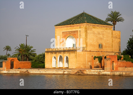 Morocco, The Jardin Menara provides a peaceful haven on the edge of Marrakech. Created by the Almohads in the 12th - Stock Photo