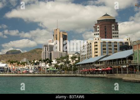 Mauritius, Port Louis. A view of the waterfront with the main buildings of Port Louis in the background. - Stock Photo
