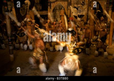 Africa, South Africa, KwaZulu Natal, Shakaland, Zulu dancers (MR) - Stock Photo