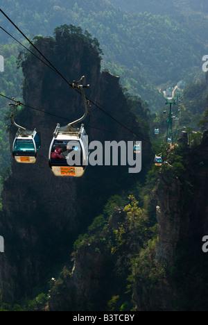 Asia, China, Hunnan Province, Zhangjiajie National Forest Park. Emperor Mountain (Tianzishan) cableway. - Stock Photo