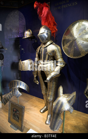 England London Tower Of London Suit Of Armour Display In The White Stock Photo Royalty Free