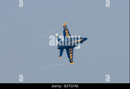 Boeing F/A-18 jets of the US Navy Blue Angels flight demonstration team perform at their summer base, NAS Pensacola - Stock Photo
