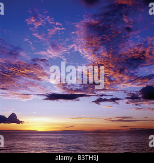 Tanzania, Kigoma, Sunset over Lake Tanganyika.Lake Tanganyika, an immense inland sea set in a long, low, deep trough - Stock Photo