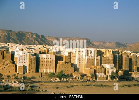 Asia, Yemen, Shibam. Manhattan of desert - Stock Photo