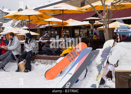 Canada, BC, Whistler/Blackcomb resort. Village base apres ski - Stock Photo