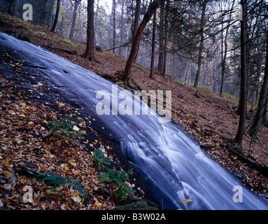 LAUREL FALLS IN AUTUMN, WORTHINGTON STATE FOREST, NEW JERSEY, USA, NEAR POCONO MOUNTAINS & DELAWARE RIVER - Stock Photo