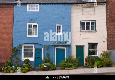 Facade of small terraced townhouses in Ludlow Shropshire England UK - Stock Photo