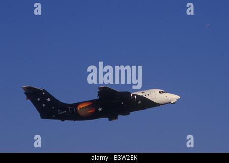 Titan Airways British Aerospace BAe 146-200QT Aircraft ( G-ZAPN ) on take off from Palma de Mallorca airport, Balearic - Stock Photo