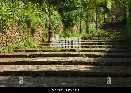 Stairway in Volterra Tuscany Italy - Stock Photo