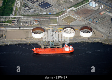 Oil tanker unloading on the River Tees, from the air, Teeside, Northern England - Stock Photo