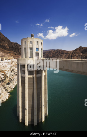 Intake tower at The Hoover Dam. - Stock Photo