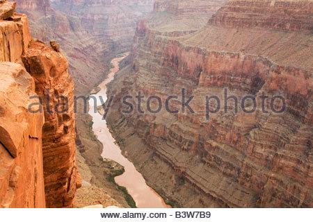 Colorado River from Toroweap Point Tuweep District Grand Canyon National Park Arizona - Stock Photo