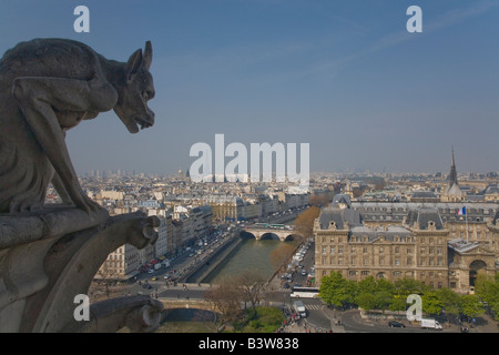 View of Paris from the Chimera Gallery with gargoyles Notre Dame Cathedral in spring sunshine France Europe EU - Stock Photo