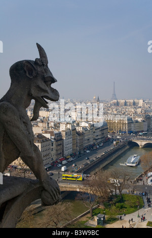 View of Paris from the Chimera Gallery with gargoyles Notre Dame Cathedral and River Seine in spring sunshine France - Stock Photo