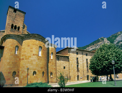 Leyre Monastery in Sierra de Leyre Navarra Spain - Stock Photo