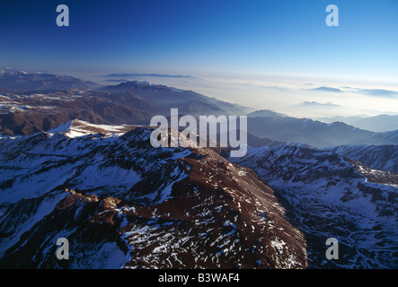Aerial view of Andes Mountains north east of Santiago, Chile - Stock Photo
