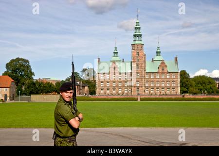 Security guard in front of Rosenborg Castle in Copenhagen - Stock Photo