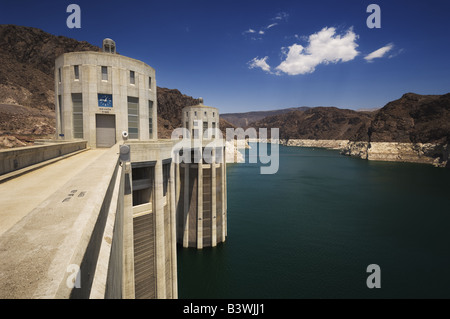 Intake towers at The Hoover Dam. - Stock Photo