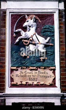 The Goat in Boots unusual rare Pub Sign Fulham Road London English Inn signs England UK - Stock Photo