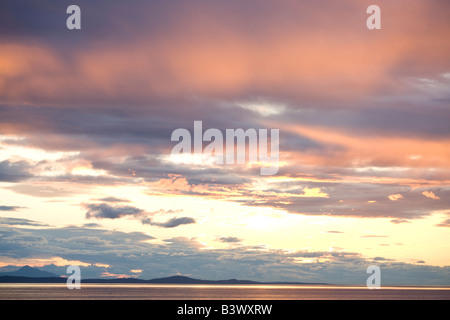 sunset viewed from the ferry boat from Vancouver to Victoria, Strait of Georgia, British Columbia, Canada - Stock Photo