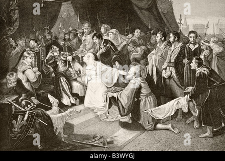 Queen Philippa interceding with her husband Edward III to spare the lives of the Burghers of Calais. - Stock Photo