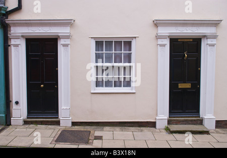 Steps Up To A Black Door Entrance To A Georgian House On Trim Street