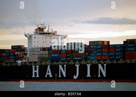 Hanjin Shenzhen container ship, the 75,000 ton vessel was built in 2008 by Hyundai, seen here arriving in Felixstowe - Stock Photo