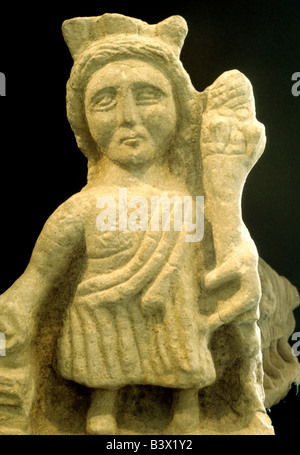 Roman carved stone sculpture figure from Hadrians Wall Tulie House Museum Carlisle Cumbria England UK English history - Stock Photo