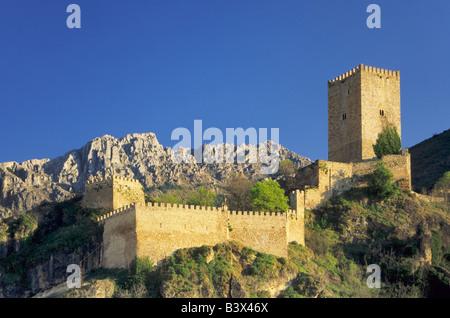 Yedra Castle in town of Cazorla in Sierra de Cazorla from Balcon del Pintor Zabaleta Andalusia Jaen Province Spain - Stock Photo