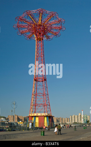 The Parachute Jump at the Coney Island boardwalk in Brooklyn New York - Stock Photo