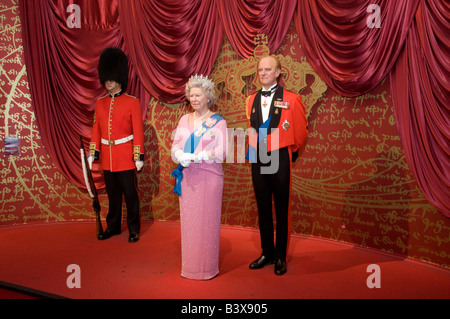Waxwork models of the Queen and Prince Phillip at Madame Tussauds London England UK - Stock Photo
