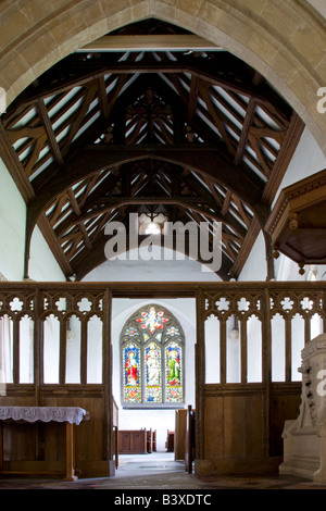Typical English Norman village country church interior at St.Mary's Church,Great Bedwyn,Wiltshire,England,Great - Stock Photo