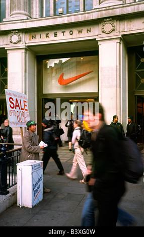 Nov 14, 2003 - Niketown at Oxford Circus in London. - Stock Photo