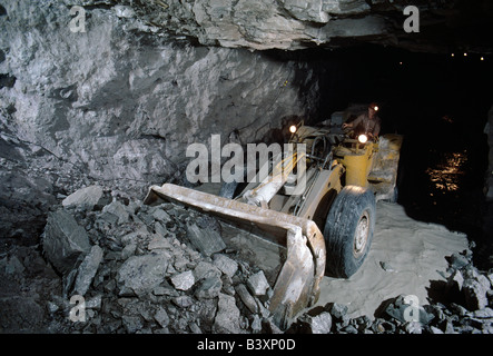 Heavy equipment working in a fluorspar (fluorite) mine in illinois, USA - Stock Photo