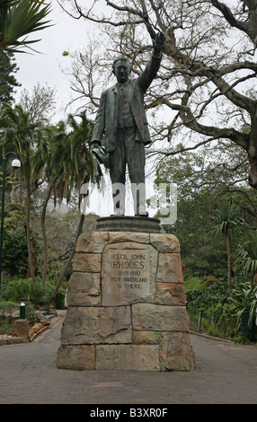 A statue of Cecil John Rhodes in the Company's Gardens Cape Town South Africa - Stock Photo