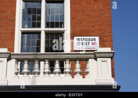 A street sign for Wardour Street  W1, Westminster, London, England, U.K. - Stock Photo
