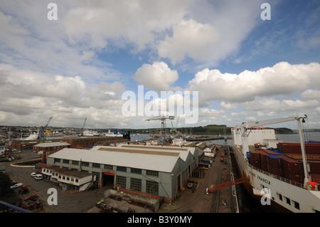 cargo ship in dry dock Falmouth Docks cornwall britian uk - Stock Photo