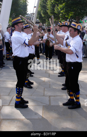 Morris Dancers at The Mayor's Thames Festival 2008 - Stock Photo