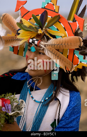 Hopi Girl Hopi Reservation Arizona Dressed in costume for social dance model released - Stock Photo