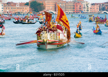 Decorated Boats on the Grand Canal in Venice for the Historical Regatta which takes place each September - Stock Photo