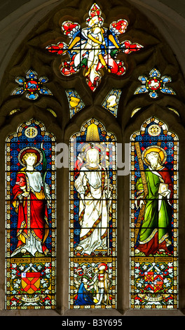 Stained glass window in a typical English country village Norman church at St.Mary's Church,Great Bedwyn,Wiltshire,England,Great - Stock Photo