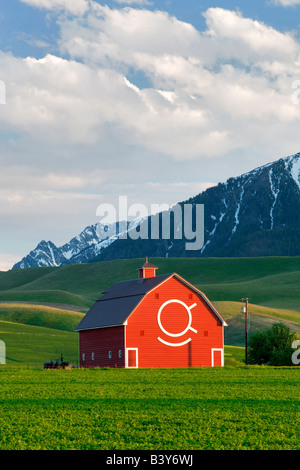 Barn with Wallowa Mountains Near Joseph Oregon - Stock Photo