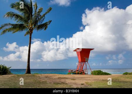 Haena Beach with lifegaurd tower Kauai Hawaii - Stock Photo