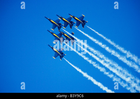 Blue Angels flyby during 2006 Fleet Week performance in San Francisco - Stock Photo