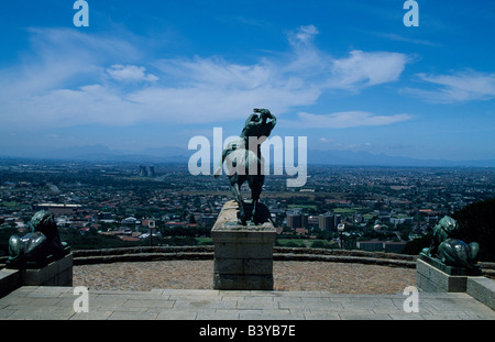 South Africa, Cape Town, Table Mountain. View over Cape Town from Rhodes Memorial, Devil's Peak - Stock Photo